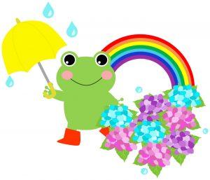 雨と虹とアジサイ
