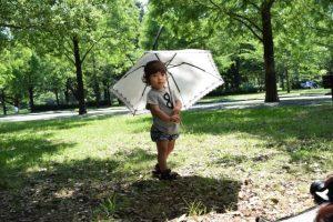 夏に日傘をさして髪の紫外線対策をしている子ども