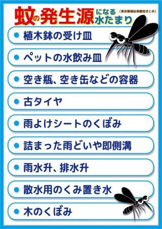 蚊の発生源になる水たまり