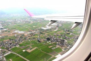 飛行機で北海道内を移動中
